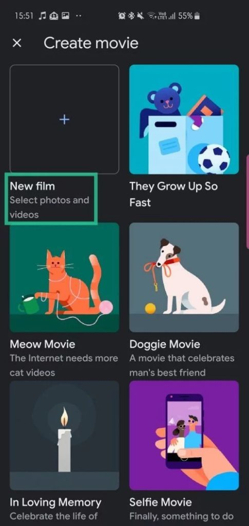 Створення фільму в Google Фото