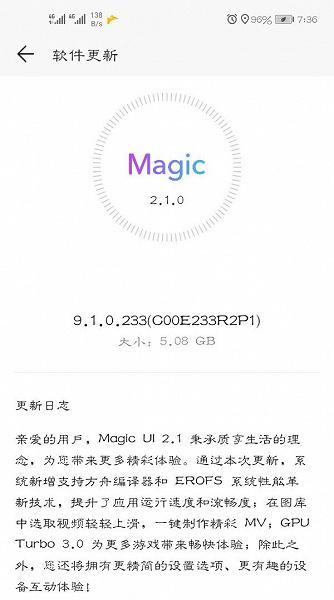 Magic UI 2.1 Honor V20