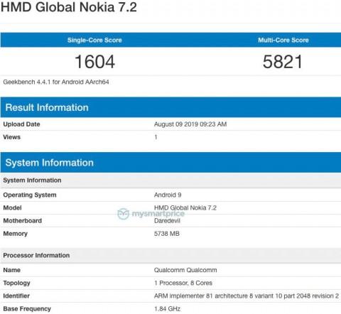 Nokia 7.2 GeekBanch