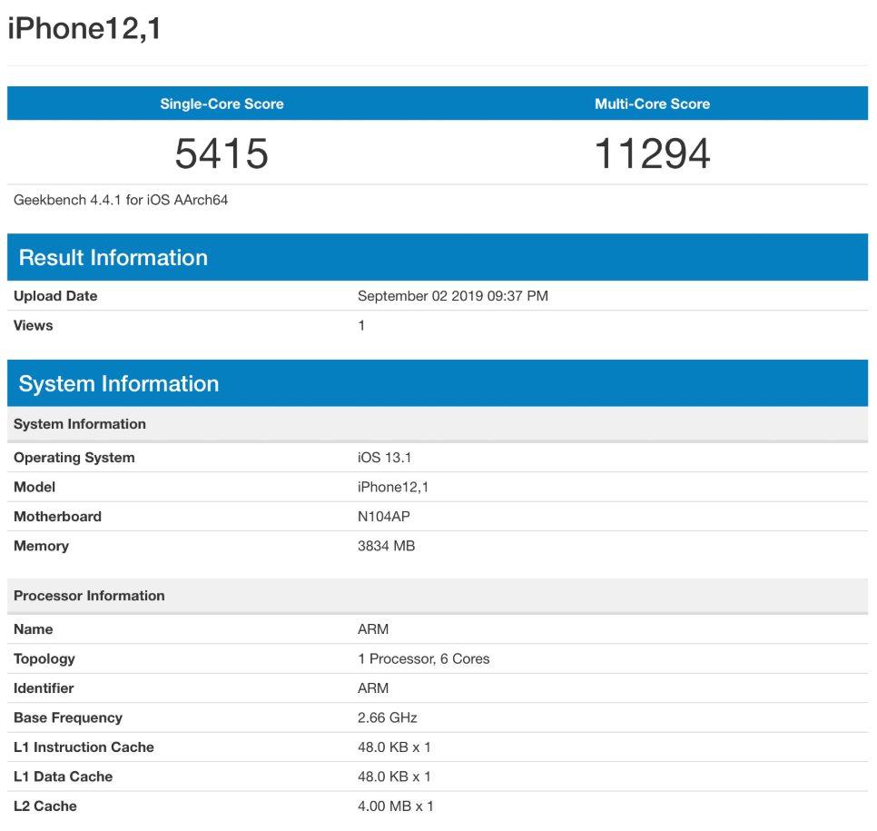 iPhone 11 Geekbanch